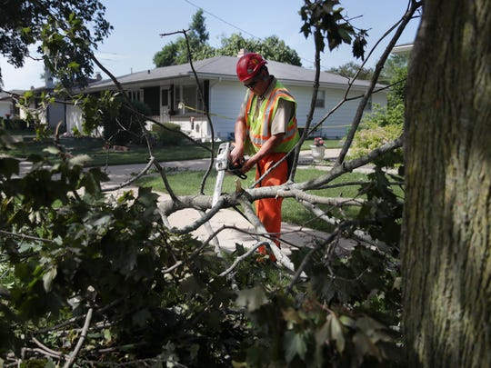 Chris Borelli, with the city of Appleton, clears downed