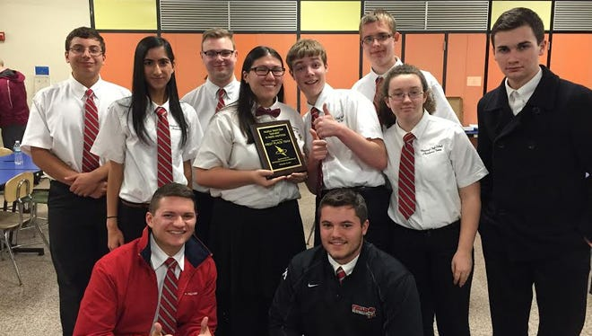 (Front row, from left) Jeff Martine and Bobby Dickenson; and (back row, from left) Frank DiGiorgio, Sejal Menghani, Greg Hughes, Sarah Gibney, Justin Malme, William Reichard, Hannah Joyce and Travis Harrell, members of Vineland High School's academic team, placed first at the Millville Mind Mash.
