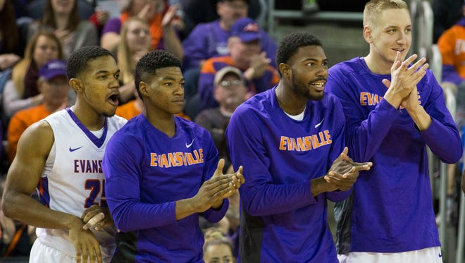 UE players cheer on their teammates from the bench during Saturday afternoon's game against Morehead State at the Ford Center.
