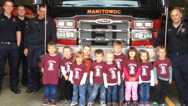Students in St. John Christian Preschool's 3-year-old kindergarten class made a stop at and visited with firefighters in Manitowoc's Franklin Street fire station recently.