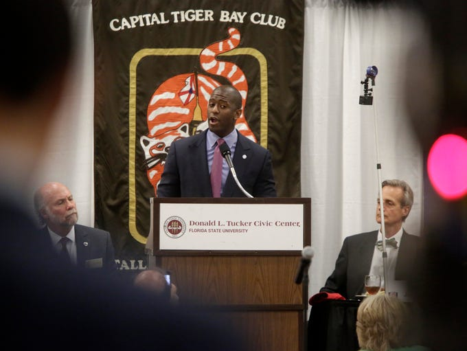 Mayor Andrew Gillum speaks at the May 31 meeting of