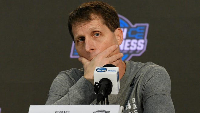 Nevada Wolf Pack head coach Eric Musselman speaks with media during practice day at Philips Arena in Atlanta on Wednesday, March 21, 2018.