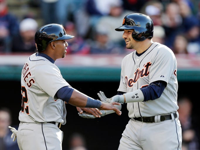 Detroit Tigers' Nick Castellanos, right, celebrates