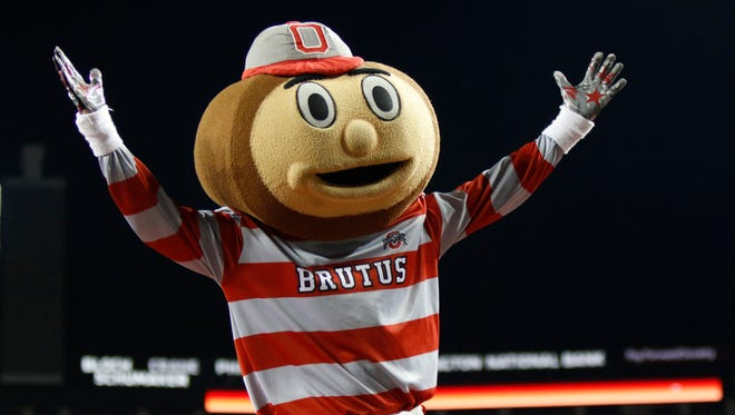 In this Nov. 7, 2015, file photo, Ohio State mascot Brutus Buckeye is seen during an NCAA college football game against Minnesota in Columbus.