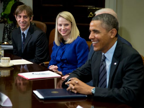 President Obama meets with Yahoo CEO Marissa Mayer and other technology executives in the White House on Tuesday.