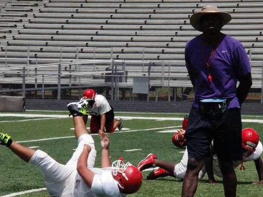 Immokalee head coach Rodelin Anthony during the Indians practice at Gary Bates Stadium in Immokalee on Thursday, August 18, 2016.