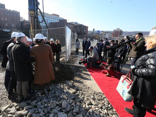Officials pose for a photo at the site of the new RXR Realty and Rising Development  groundbreaking for the $190 million mixed use development, called Larkin Plaza in Yonkers, Dec. 14, 2016.