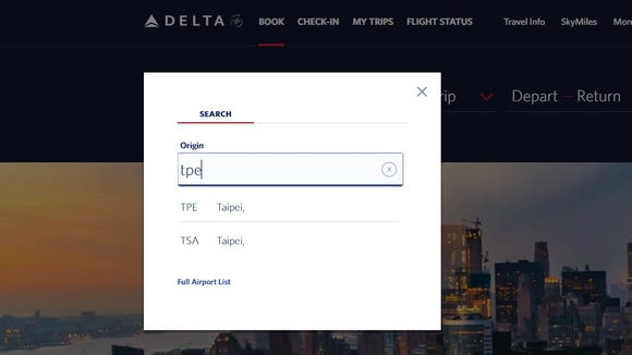 Delta Air Lines' website no longer makes a country