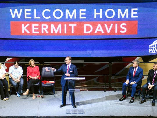 Kermit Davis addressed the crowd at The Pavilion for