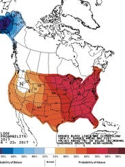 The temperature outlook for next week shows western