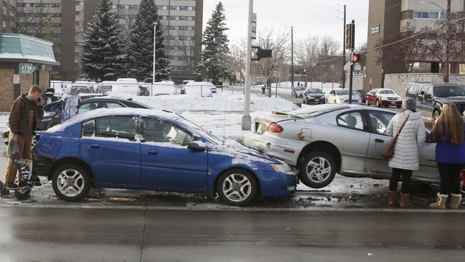 A three-vehicle crash happened about 4:40 p.m. Tuesday on Wisconsin Street at High Avenue in Oshkosh. Police Lt. Andrew Lecker said no one was injured.