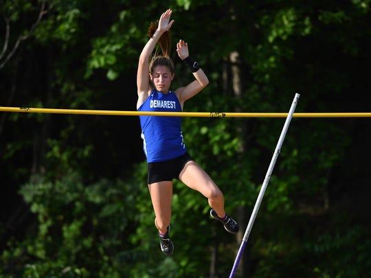 Bergen County Track Meet of Champions at Hackensack High School on Friday, May 19. 2017. Michelle Rubinetti, of Demarest, on her way to finishing first in the pole vault.