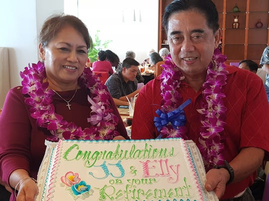 "NAVFAC Marianas employees celebrating their retirement of Federal Civil Service on Dec. 15 at World Café Restaurant, Fiesta Resort Guam. Pictured on left: Eleanor ""Elly"" Mantanona retired with 35 years of service on Jan. 3 and Juanito ""JJ"" Juaneza retired with 41 years of service on Jan. 3."