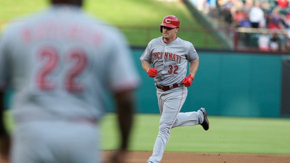 Jay Bruce runs the bases after hitting a three-run home run during the first inning of Tuesday's win over the Texas Rangers.
