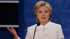 Hillary Clinton speaks during the final presidential