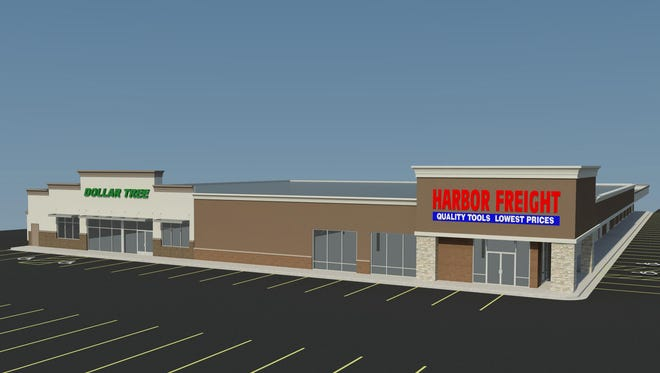 An architectural rendering shows the new location of a Harbor Freight Tools and Dollar Tree, replacing Big City Motors at 3100 W. 12th St. this year.