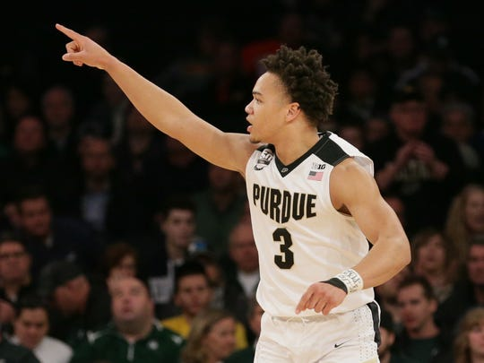 Purdue Boilermakers guard Carsen Edwards (3) reacts