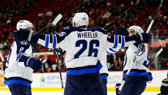Blake Wheeler's two goal performance saw the Jets fly past the Hurricanes 3-1 in Carolina.