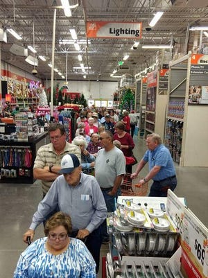 Voters line up to vote early at the Home Depot store in Wichita Falls.  Contributed photo