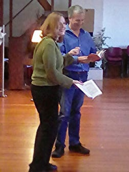 """Wendy Spurgeon and Mark Watson try out for the roles of Bobbi and Barney in """"Last of the Red Hot Lovers."""""""