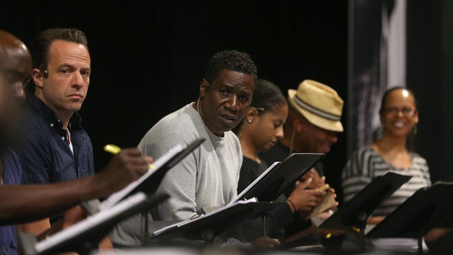Cleavant Derricks (center) will play Son House in the Geva production of Revival: The Resurrection of Son House, part of a four-day festival honoring the legendary blues musician. At left is Dave Mason, who will play Dick Waterman.