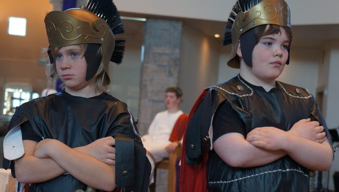 """McCoy Timblin and Kendall Johnson will portray Roman soldiers during """"The Living Way of the Cross."""""""