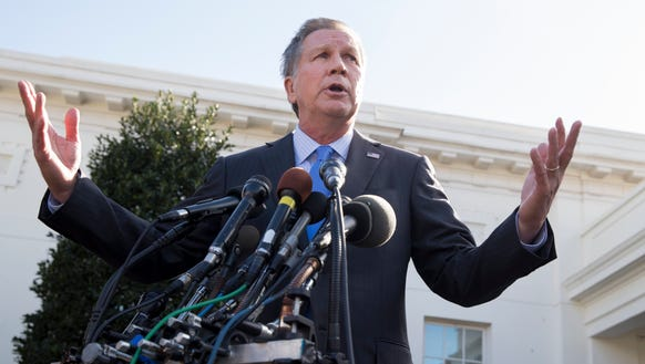 In this Feb. 24, 2017, file photo, John Kasich responds