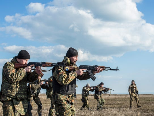 The Azov Brigade trains  March 7 in Kulykivske.