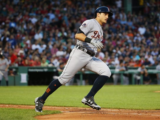 Tigers centerfielder Mikie Mahtook rounds the bases