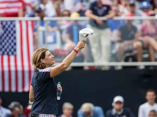 Juli Inkster, captain of Team USA watches as players