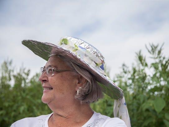 Elaine Howard, of Hamburg, wears a tinfoil hat as a