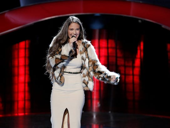 "Rebecca Brunner's rendition of ""Believer"" by Imagine Dragons helped her survive the blind auditions on ""The Voice."""
