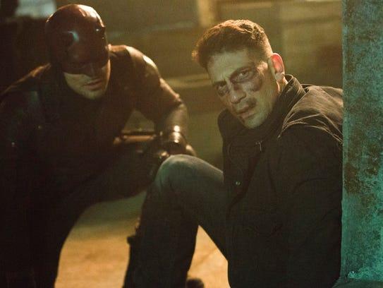 The Punisher (right, Jon Bernthal) met Daredevil (Charlie
