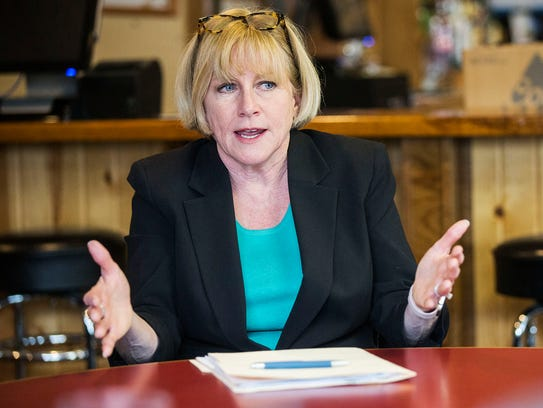 Cathy Glasson, Democratic candidate for governor, holds a roundtable discussion about health care and other issues on Tuesday, Jan. 30, 2018, at the Blue Top Tap in Lone Tree.