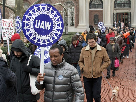 Graduate workers and their allies rallied on the campus of Columbia University in New York on Feb. 1, 2018, to protest the school's refusal to bargain with their union, the UAW.