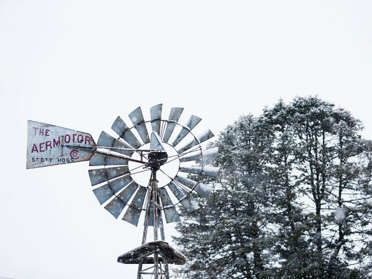 A late winter snow falls on the Iowa State Fairgrounds