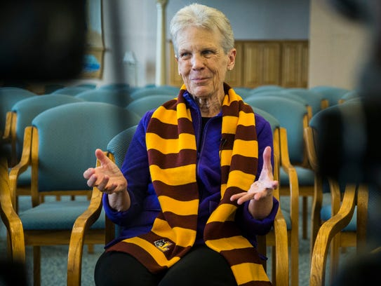 Sister Mary Ann Zollmann, one of the Sisters of Charity of the Blessed Virgin Mary, the same order that Sister  Jean Dolores Schmidt, the chaplain of the Loyola-Chicago men's basketball team, has been a part of, sits inside the chapel at the headquarters of the BVM's in Dubuque on Thursday, March 29, 2018.