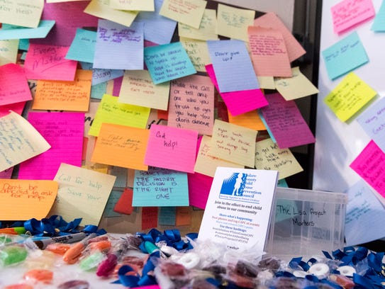 Students posted their thoughts outside the The Lisa