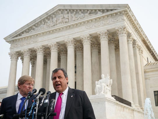 Then-governor Chris Christie was at the Supreme Court in December to hear his state's challenge to a ban on sports betting.