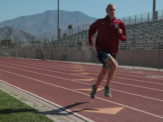 Parker Wallace will compete in the 800 meter race for La Quinta High School at Saturday's CIF divisional finals, La Quinta, Calif., May 16, 2018.