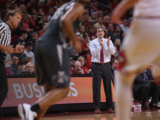 Iowa State coach Steve Prohm claps after the Cyclones