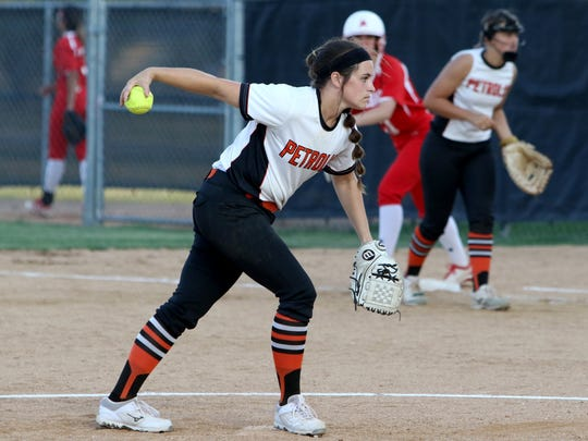 Petrolia's Lindy Alexander pitches against Albany Thursday,