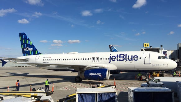 "JetBlue's new ""Highrise"" tailfin design is shown on"