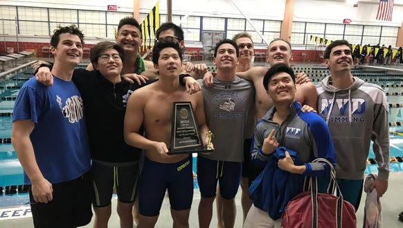 Members of the NV/Demarest swim team pose with their