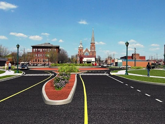 This is a rendering of the finished roundabout on North