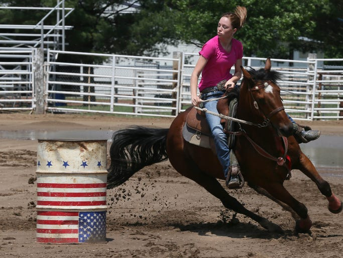 Riata Snyder, 14, of Adel will compete in barrel racing and pole bending in the National Junior High Finals Rodeo beginning Sunday at the Iowa State Fairgrounds.