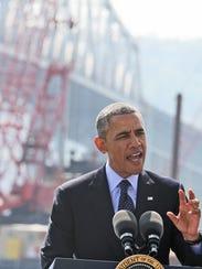 With the Tappan Zee Bridge as a backdrop, President