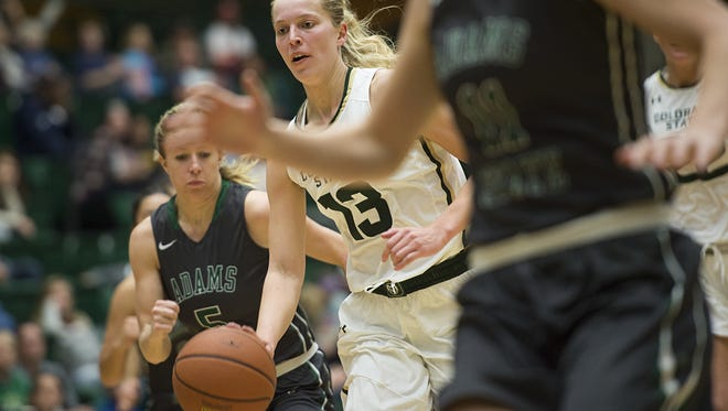 CSU guard Ellen Nystrom, shown in a game earlier this season, scored 27 points in a win at Montana on Wednesday.