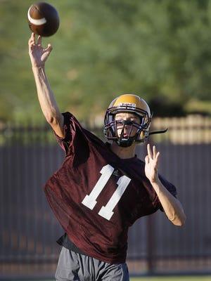 QB Nick Wallerstedt during Mountain Pointe High School football practice Wednesday, July 27, 2016 in  Phoenix, Ariz.