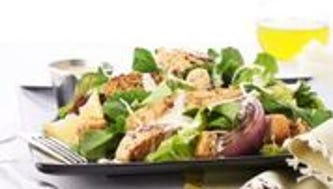 A salad with grilled chicken at Tazikis' Mediterranean Cafe